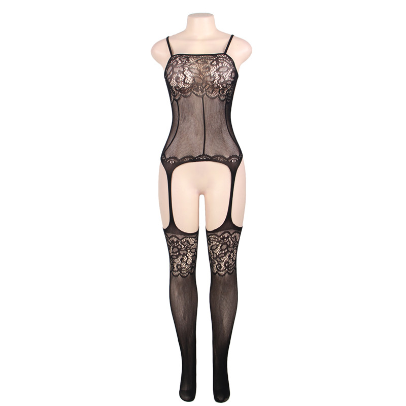 #H3011 Black Women's sexy exotic lingerie lace cut-out crotchless fishnets body stockings