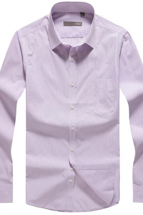 Men's fashion clothing long sleeve lavender plaid causal business dress shirts