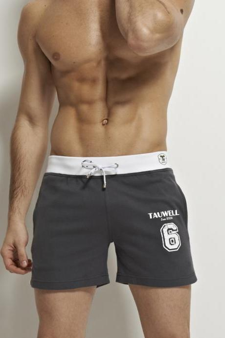 Gray men's summer fashion 100% cotton low rise sports gym running athletics sleeping home causal shorts