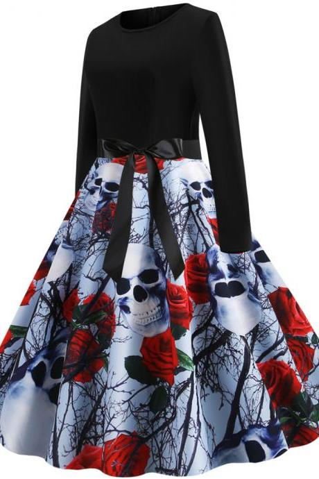 #JY14289 All Saints Day Women's O-neck long sleeve cotton Halloween dresses