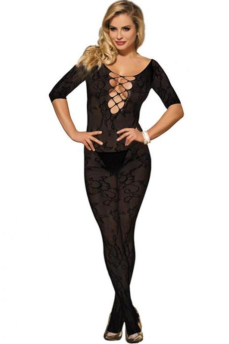 #H3009 Black Women's sexy exotic lingerie lace crotchless fishnets body stockings