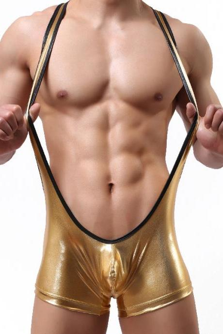Gold Sexy men's underwear faux leather hot stamping bodysuit wrestling singlet