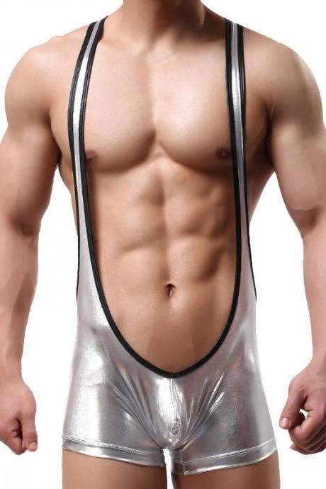 Silver Sexy men's underwear faux leather hot stamping bodysuit wrestling singlet