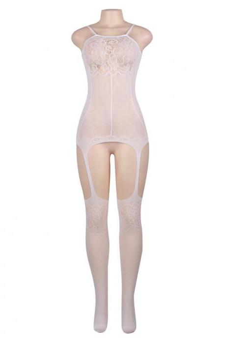 #H3011 White Bridal Women's sexy exotic lingerie lace cut-out crotchless fishnets body stockings