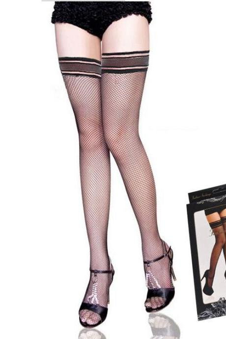 3 pairs Women's sexy silicone anti-dropping over-knee mesh stockings thigh-highs #2126
