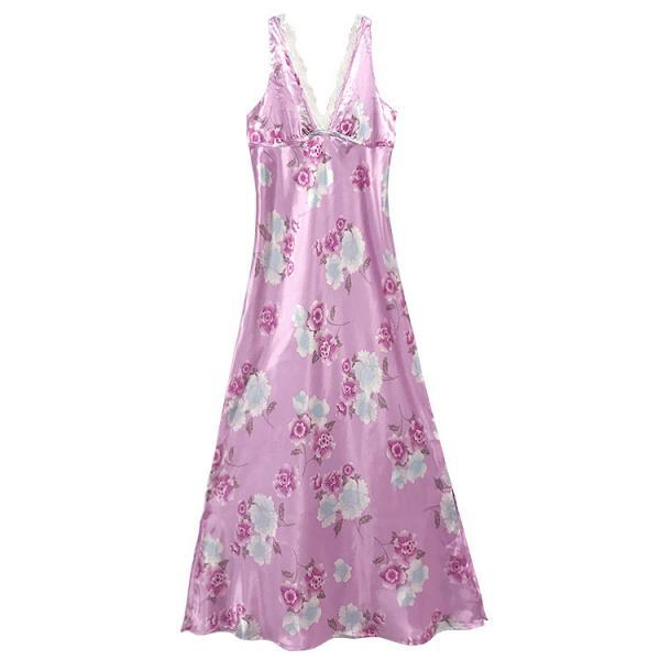 Flora lace v-eck Ladies nightwear long chemise