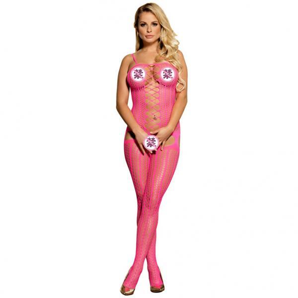 #H30084 Pink Sexy Women's exotic lingerie cut-out crotchless fishnet body stockings