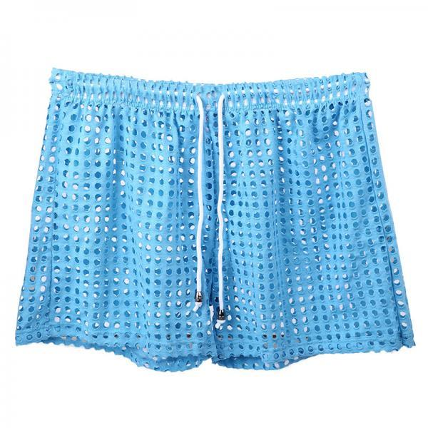 Blue Sexy men's see-through perforated holes loungewear shorts sleep bottoms